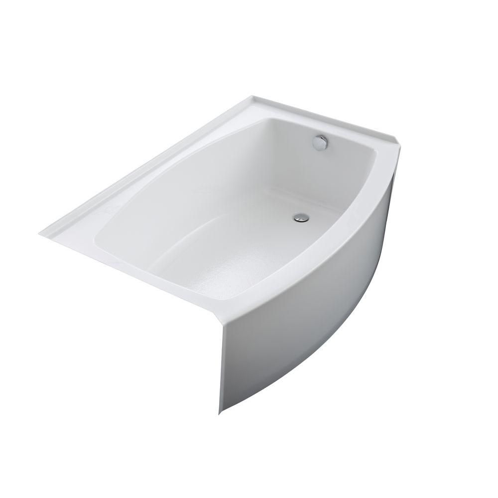KOHLER Expanse 5 ft. Acrylic Right-Hand Drain Curved Farmhouse ...