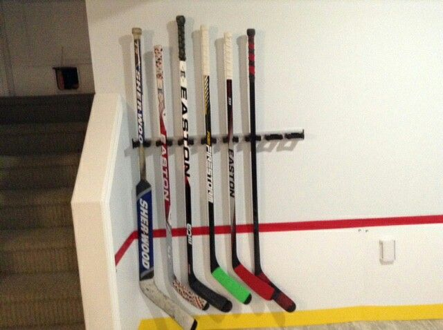 Broom Tool Holder That Uses Rubber Band Cam Latch To Hold In Place Just Push In Stick Or Pull Out No Finicky Hockey Stick Storage Hockey Room Hockey Bedroom