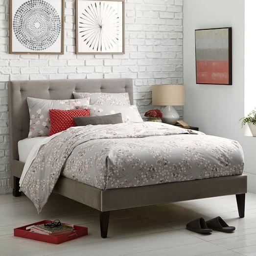 Narrow Leg Upholstered Bed Frame Dove Gray West Elm Modern