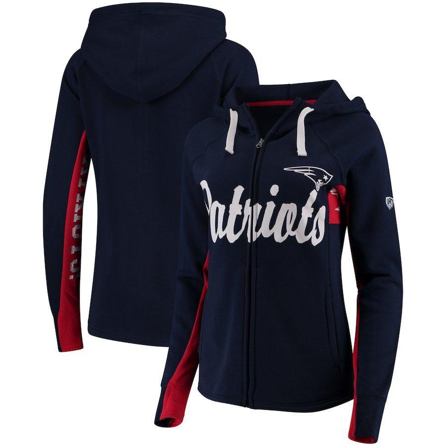 New England Patriots Hands High Women S Rally Full Zip Hoodie Navy Sports Attire Sweatshirts Women Full Zip Hoodie
