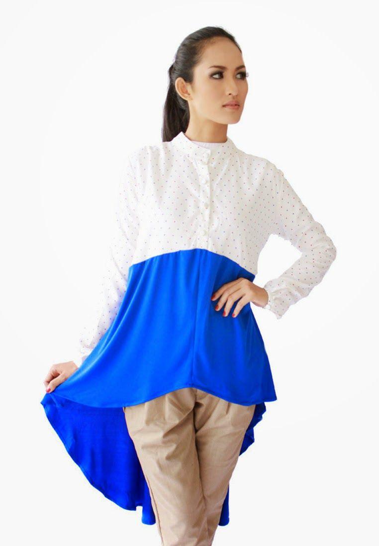 Up Dress Putih Biru Blouse Dan Outer Dengan Kerah Yang Unik Memberi Candy Ruffle Tee Aneka Warna Kesan Jenjang Bagi Pemakai
