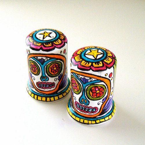 Sugar Skulls Salt and Pepper Shakers Ceramic Hand by sewZinski
