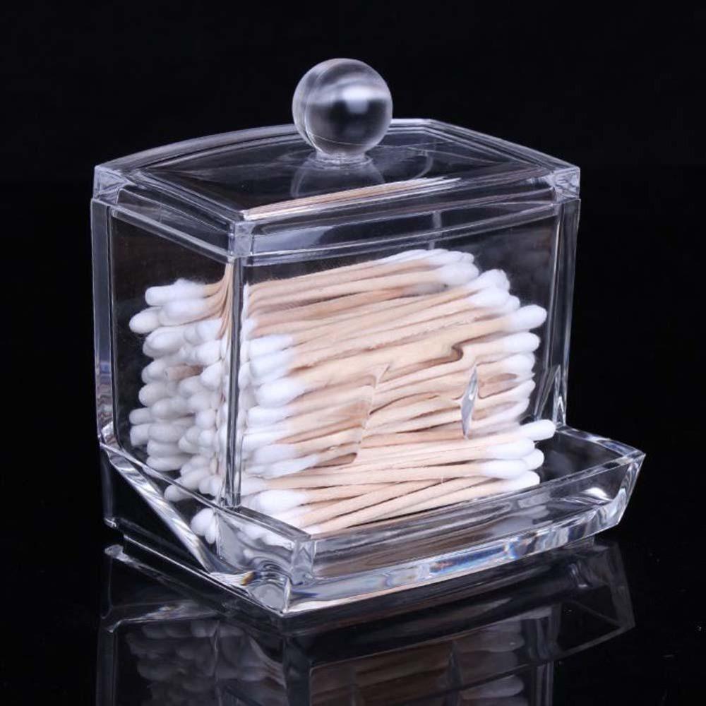 Clear Acrylic Cotton Swab Storage Box And Dispenser Caja De Almacenamiento De Maquillaje Cajas De Almacenamiento Almacenamiento De Maquillaje
