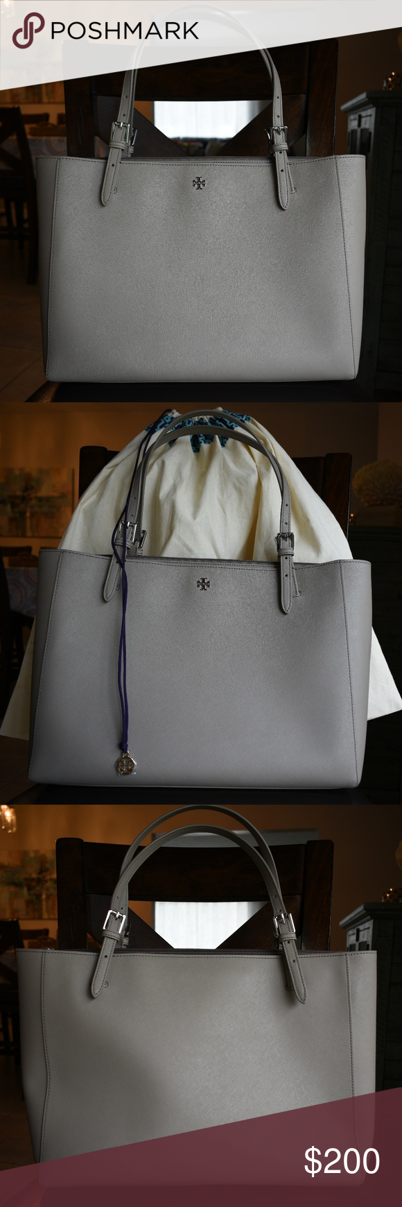 Tory Burch Large York Tote Saffiano Leather Gray Interior French Bag