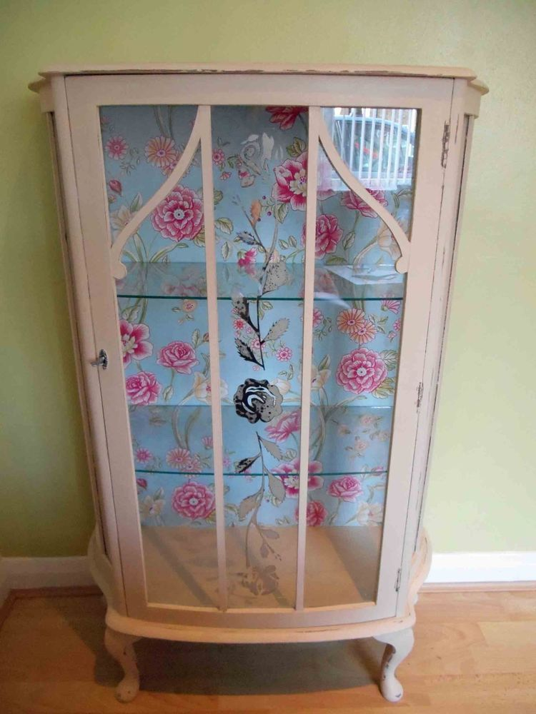 shabby chic hand painted wooden display cabinet cupboard painted in annie sloan annie sloan. Black Bedroom Furniture Sets. Home Design Ideas