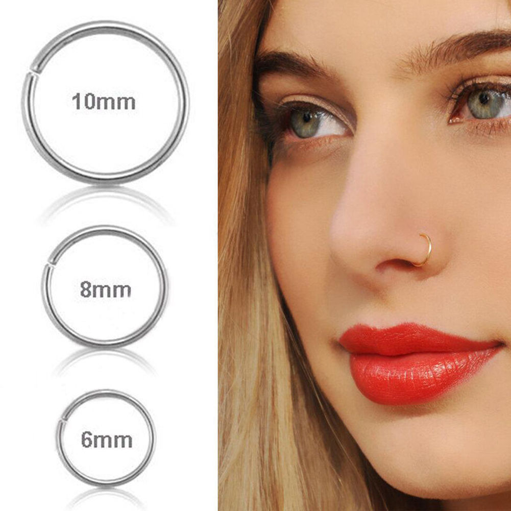 Double nose piercing hoop  NEW Smooth Nose Ring Piercing Hoop Cartilage For Chic Women ladies