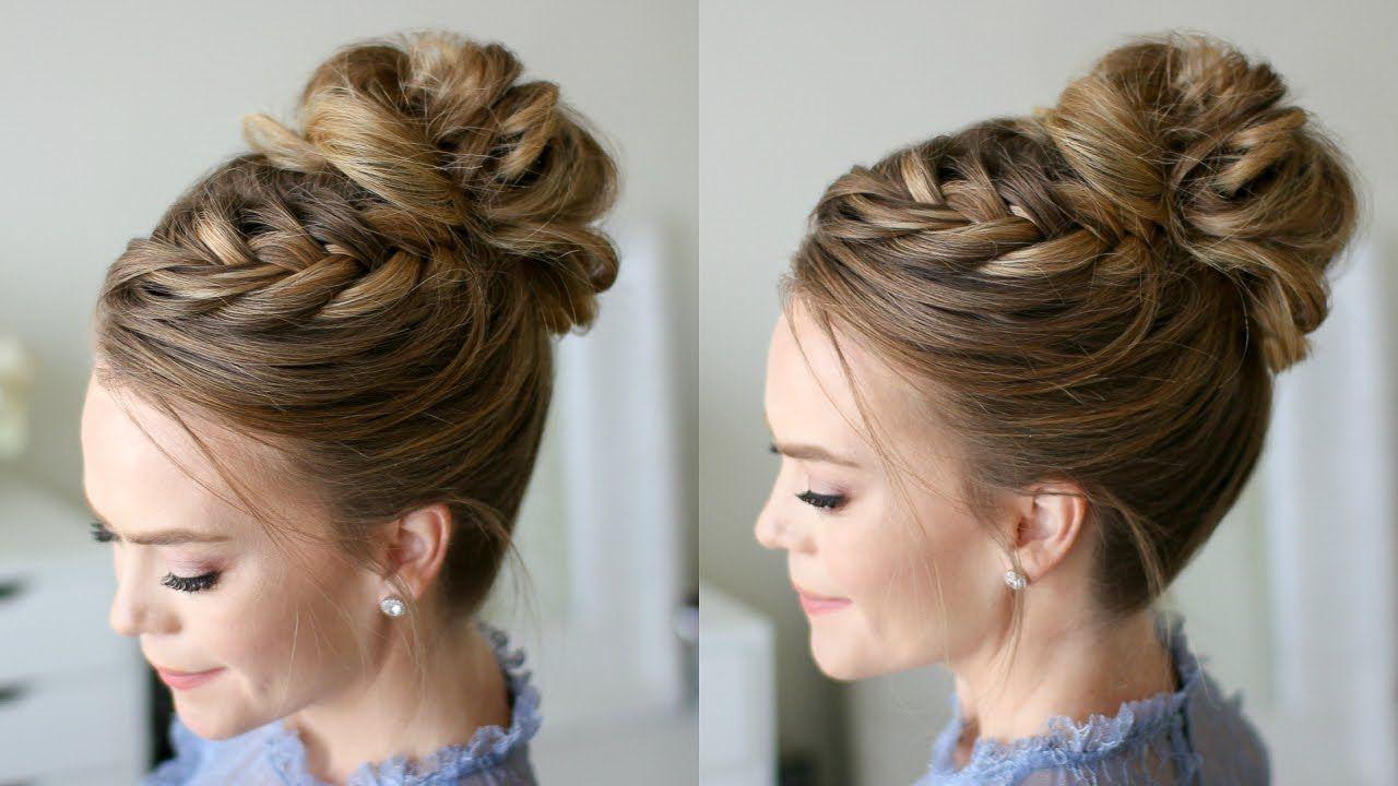 Fishtail French Braid High Bun Missy Sue Youtube Bun Hairstyles Hair Styles Hair Updos Tutorials