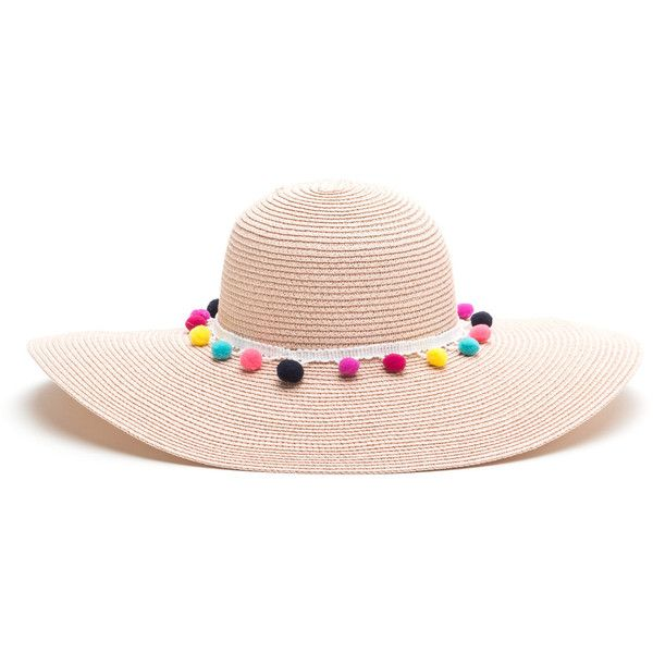 Pom-Pom Beach Woven Sun Hat ❤ liked on Polyvore featuring accessories 36aa48340c4