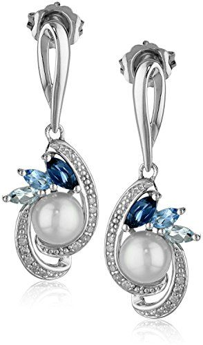 Sterling Silver Freshwater Cultured Pearl and Mixed Blue Topaz Diamond Drop Earrings (1/10cttw, I-J Color, I2-I3 Clarity) Amazon Collection http://www.amazon.com/dp/B00OXV6BNC/ref=cm_sw_r_pi_dp_CMaIvb005VDXZ