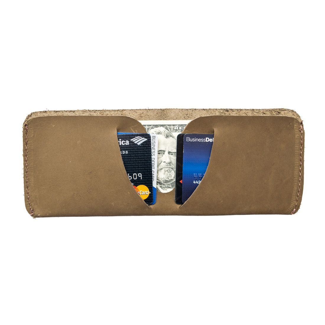 Handmade from a Single Piece of Thick, Durable Leather Attractive Vintage Style Holds Credit Cards and Bills Hand Cut :: Hand Sewn Lifetime Guarantee SPECIFICATIONS Dimensions: 3.25 x 7.5 inches Mater