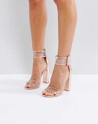 Public Desire Mission Rose Gold Clear Strap Block Heeled Sandals ... 7e8c43801677