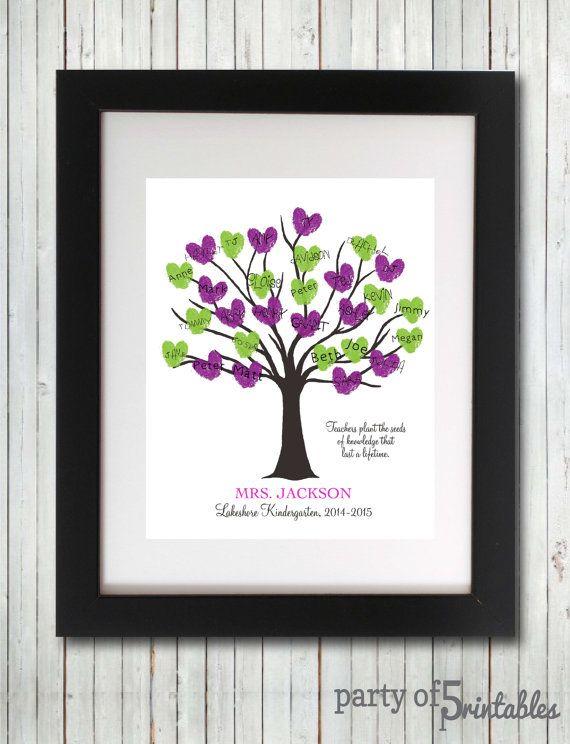 Teachers Gift Fingerprint Tree Teachers Plant Seeds Quote ...