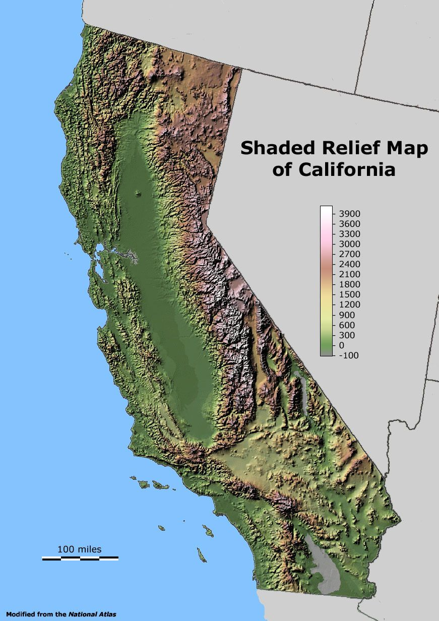Map Of California Geography.Shaded Relief Map Of California Maps I Like California Map