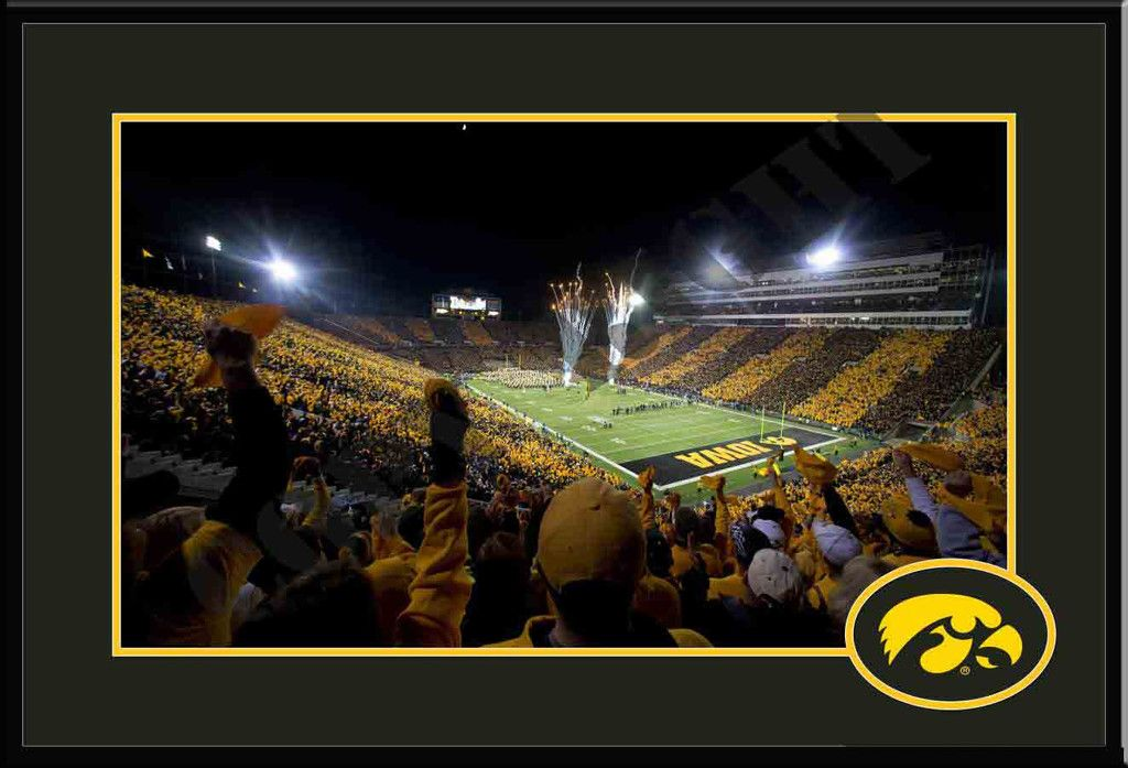 Iowa Hawkeyes Kinnick Stadium Fireworks Framed Print Or