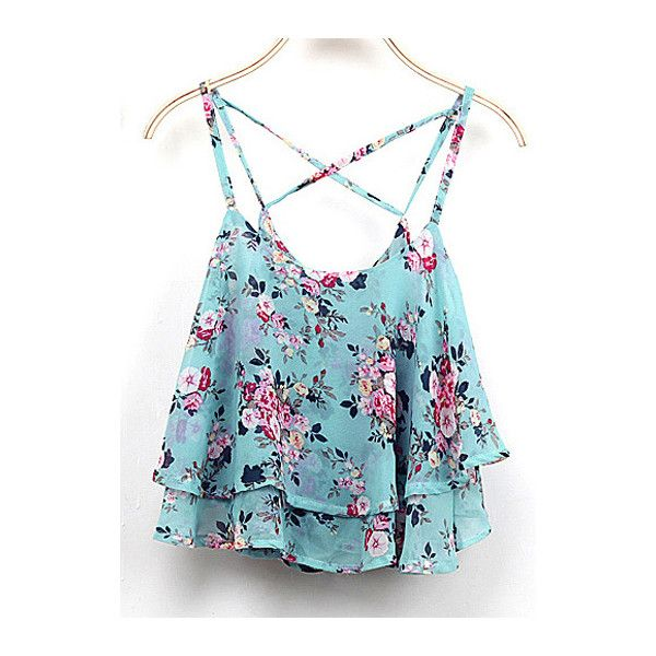 Rotita Floral Print Criss Cross Back Layered Camisole ($14) ❤ liked on Polyvore