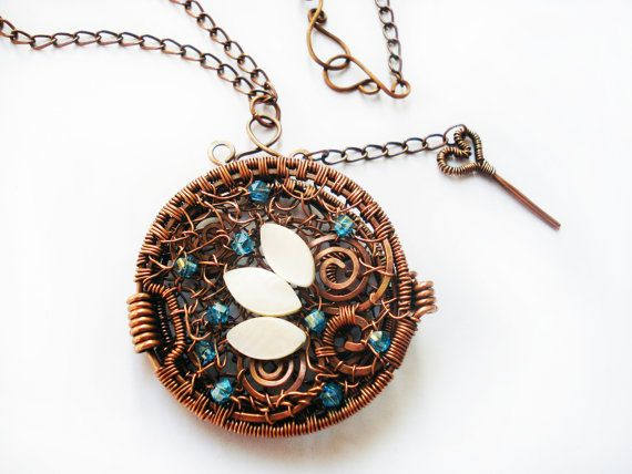 Photo locket, unique pendant, wire wrapped copper locket, blue glass ...