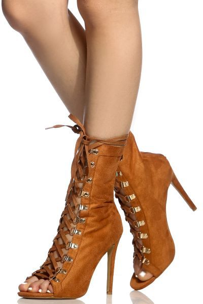 82c82e336702 Camel Faux Suede Lace Up Open Toe Heels  boots  booties  laceup  peeptoe