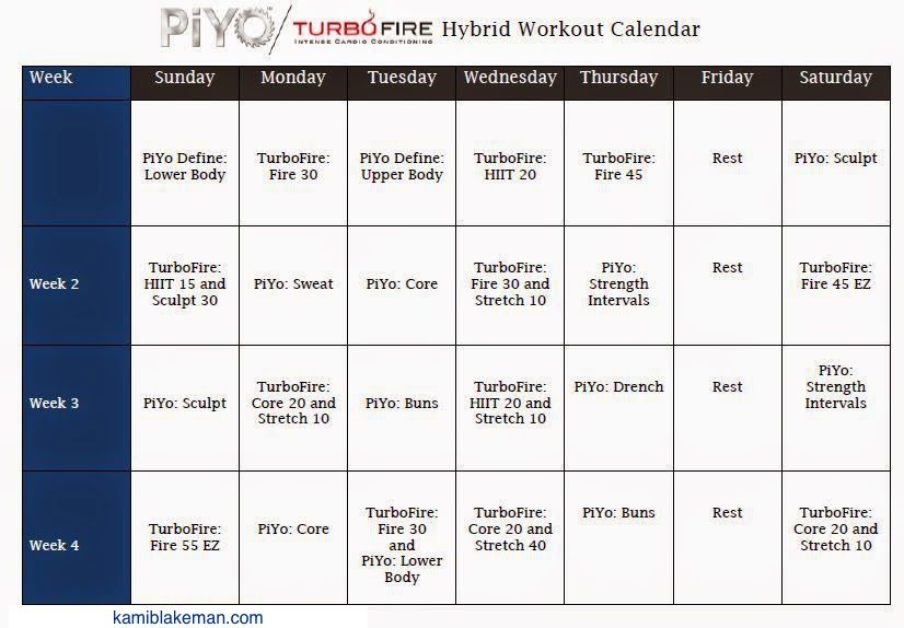 turbo fire piyo hybrid workout schedule workout schedule workout and beachbody