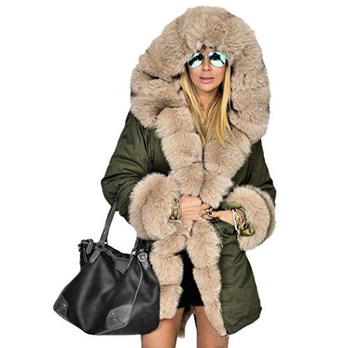 Walant Women Winter Coat Thick Faux Fur Hood Parka Overcoat Long Jacket Outwear -- You can find more details by visiting the image link.
