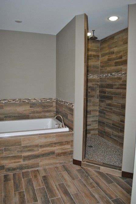 master bath with wood look tile walk in shower cm properties and - Bathroom Remodel Eau Claire Wi