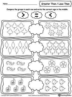 Using Less And Greater Than Signs By Comparing The Number Of Leaves Kindergarten Worksheets Numbers Kindergarten Kindergarten Worksheets Printable
