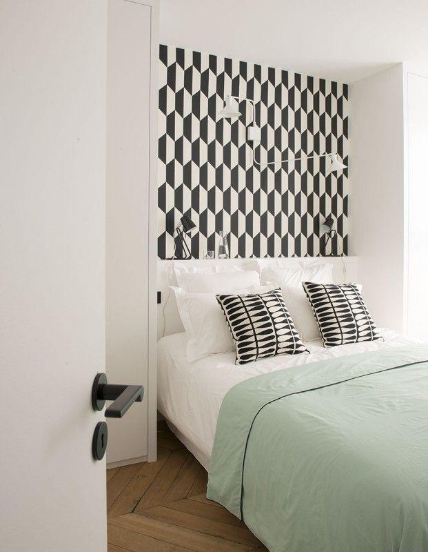 appartement paris 7 double g petites surfaces projets papier peint tile. Black Bedroom Furniture Sets. Home Design Ideas