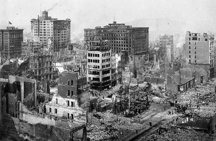 San Francisco after the 1906 earthquake, which destroyed 80% of the city. For more about the largest earthquakes to strike the continental 48 US states, see: http://www.infobarrel.com/The_Ten_Largest_Earthquakes_Ever_in_the_Continental_48_States