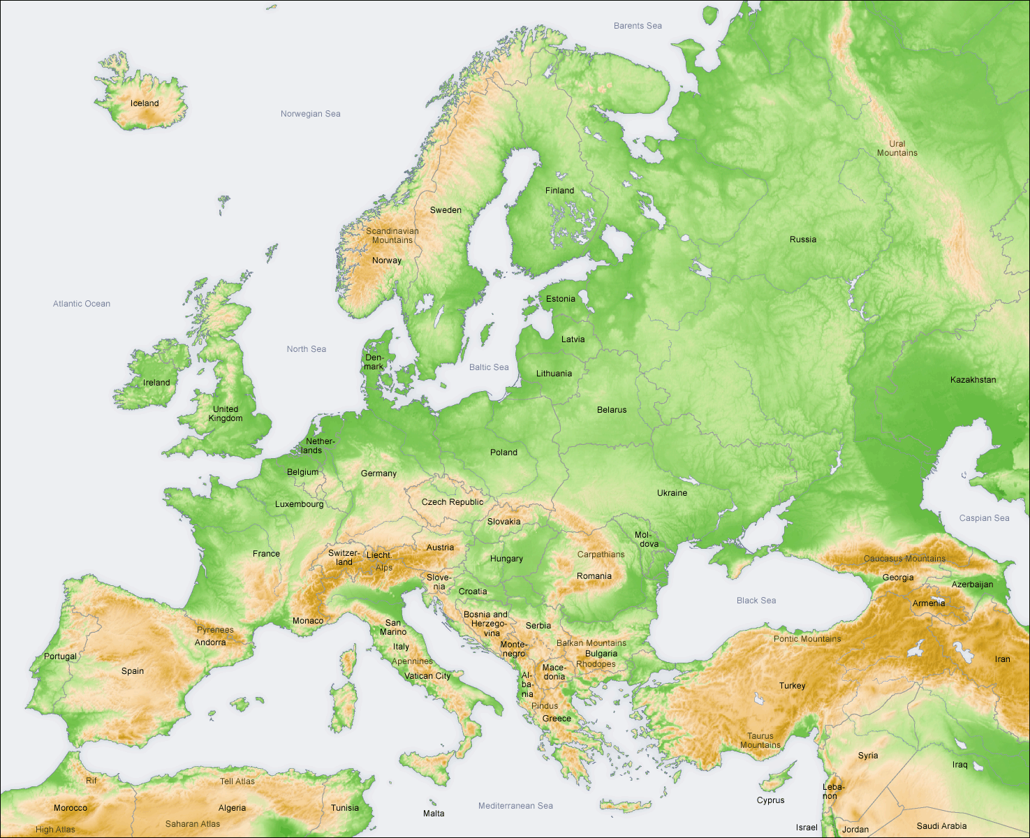 Topographical map of Europe with presentday borders Description