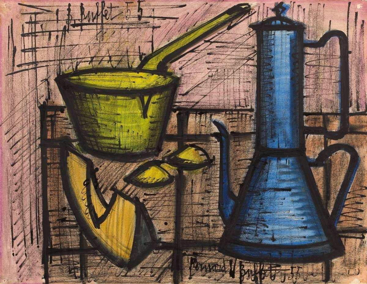 Bernard Buffet, Cafetière bleue, 1955   Buffet, Painting ...