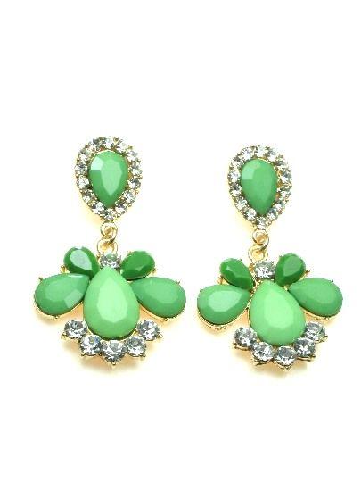 Groene oorbellen met heldere strassteentjes €5,95 per paar #oorbel #earring