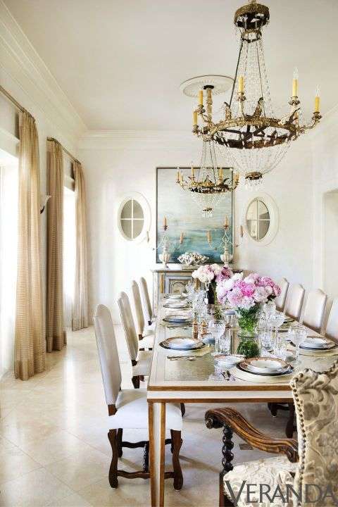 Antique French Chairs And Glittering Chandeliers Give The Dining Room A Foundation Of Old World Elegance Side In Fabricut Fabric Armchair