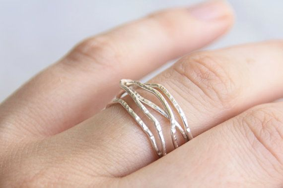 Silver or Gold Tangle Ring // Five Band Wrap by TorchfireStudio