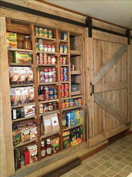 In Wall Pantry With Barn Door Rustic House Metal