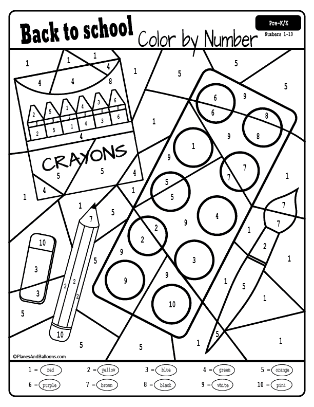 Back To School Color By Number Worksheets Kindergarten Colors Number Worksheets Kindergarten School Coloring Pages
