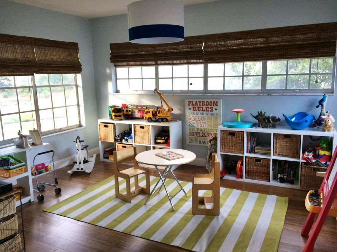 Sunroom Playroom Bamboo Blinds Ikea Storage With Images