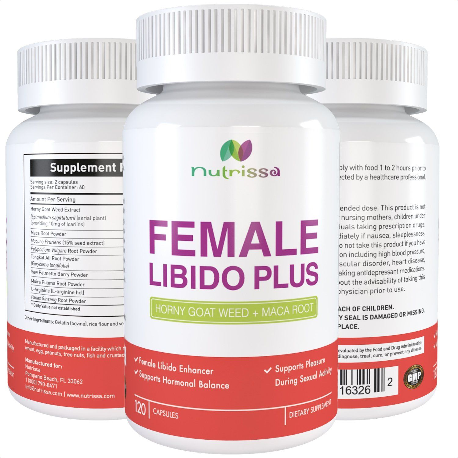 FEMALE LIBIDO PLUS - 120 Capsules - Horny Goat Weed (1000 mg) + Maca Root  (250 mg); Herbal Complex (9 Ingredients) For Women that Helps Increase Sex  Drive ...