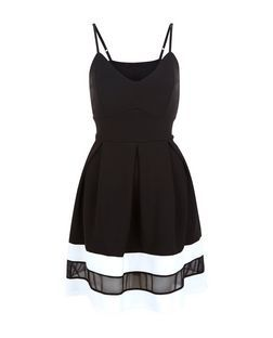 031a3ba9f Cameo Rose Black Mesh Panel Strappy Skater Dress | New Look Fit And Flare  Cocktail Dress