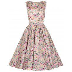 'Audrey' Hepburn Style Vintage Peach Floral 1950's Rockabilly Swing Dress