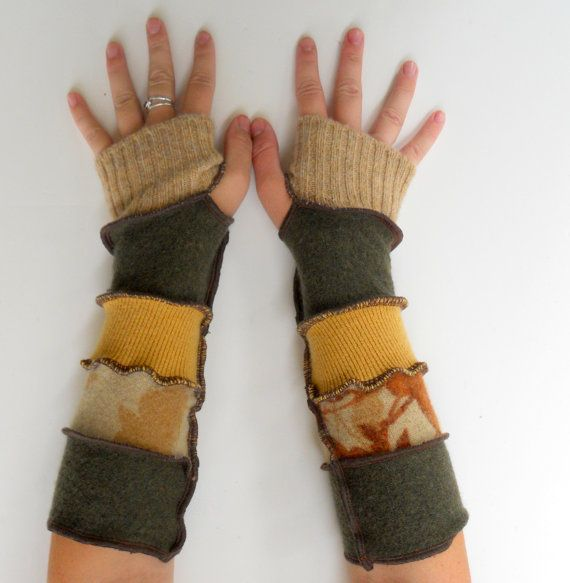 Upcycle Thrift Clothing | ... Arm Warmers Upcycled Clothing Nature Autumn Forest Thankful Rose