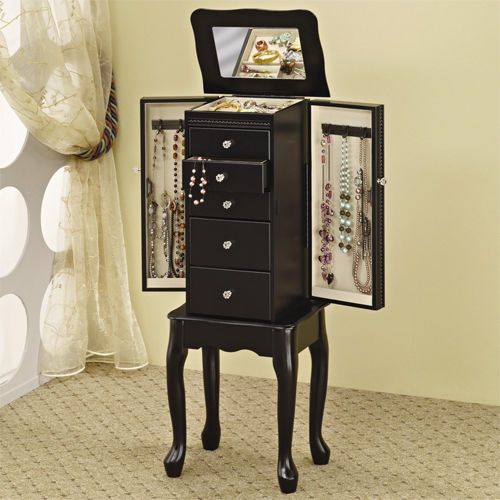 Black Armoire Stand Jewelry Wooden Box Womens Mirror Organizer