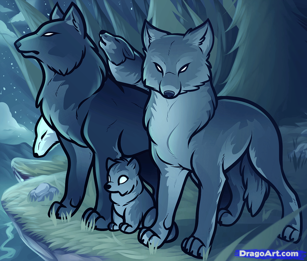 How To Draw A Wolf Pack, Pack Of Wolves