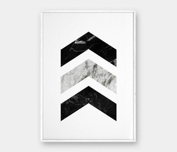 Skandinavische Poster chevron wandkunst marmor drucke druckbare poster schwarzem marmor