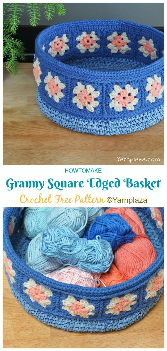 Granny Square Edged Basket Crochet Free Patterns - Crochet & Knitting #crochetbowl