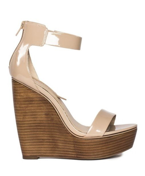 Neutral patent olivia \\ honey wood wedge \\ SHOE SEPARATES