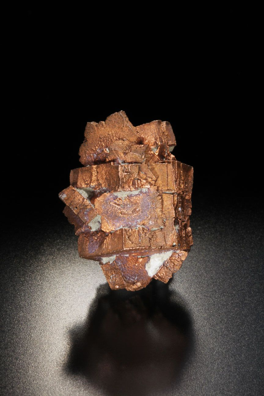 Copper pseudo after Aragonite Size:W21mm×H26mmD20mm San Agustín Mine, Corocoro,  Pacajes Province,  La Paz Department, Bolivia