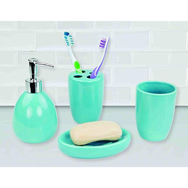 Deluxe Ceramic Bathroom Vanity Accessory Set, Soap Dispenser Pump ...