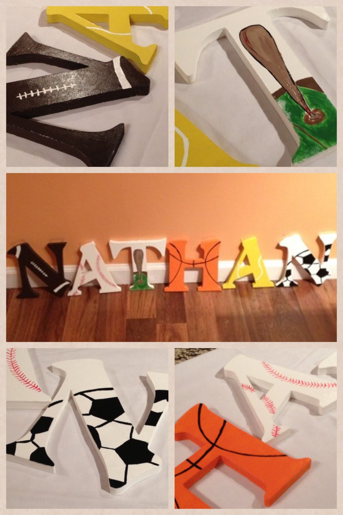 Personalized nursery letter boy sport theme perfect for a boys
