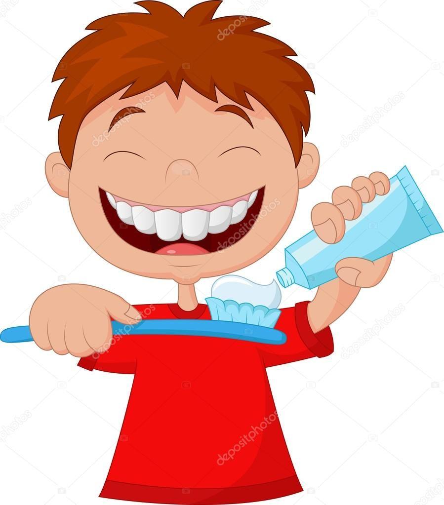 Descargar Nino Exprimiendo La Pasta Dental En Un Cepillo De Dientes Ilustracion De Stock Dibujos Ilustraciones Cepillos De Dientes