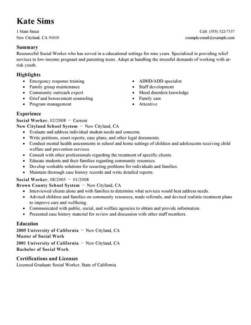 master of social work resume examples