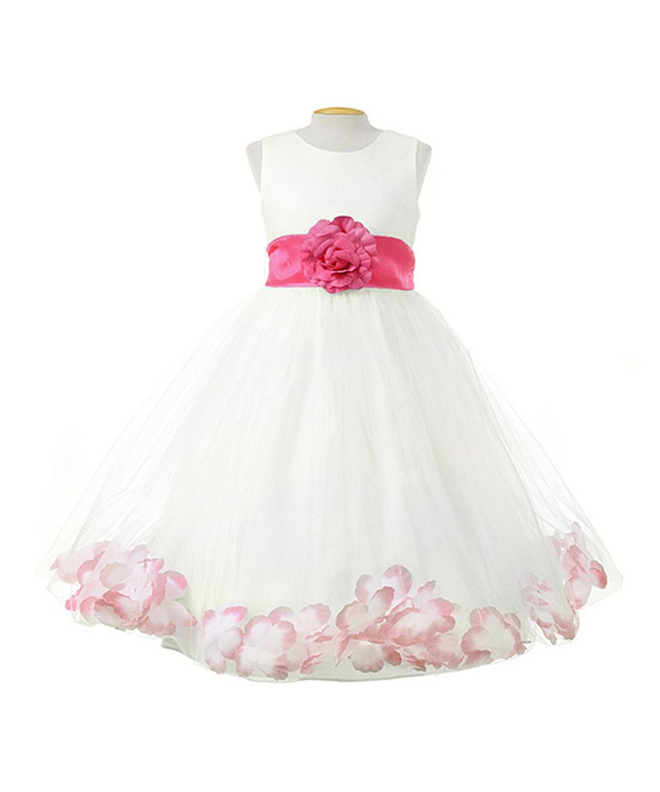 e93a48753 Look what I found on  zulily! Growing Up Ivory   Fuchsia Petal Dress ...